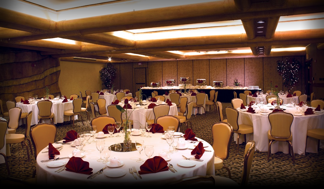 Banquet and meeting space inside Fiesta Henderson Hotel & Casino, wide shot