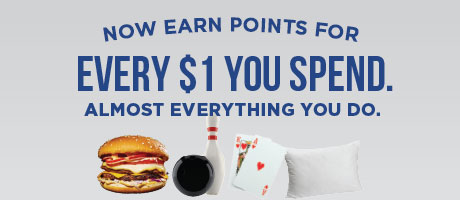 Now earn points for every $1 you spend. Almost everything you do. Words above a hamburger, bowling ball and pin, two playing cards, and a pillow.