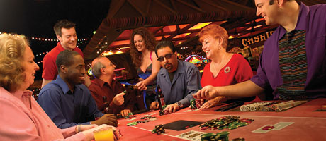 A poker game in progress