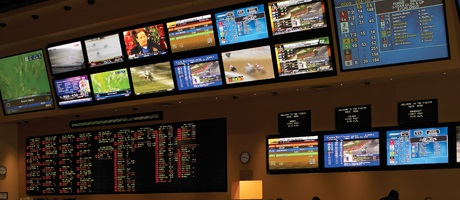 Big screens inside the Fiesta Henderson Sportsbook