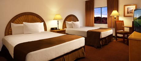 Newly rennovated double queen room inside Fiesta Henderson Hotel & Casino